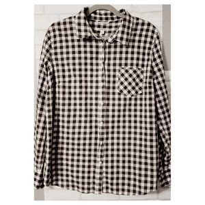 Black White Gingham Plaid Long Sleeve Shirt XXL
